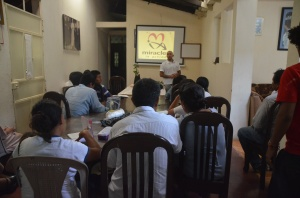 Pedro from Miracles in Action doing what we hope is the first of many Nutritional education seminars for local villagers.