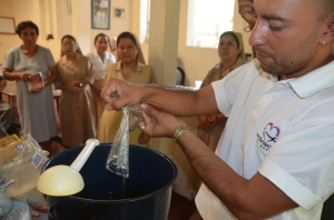 Pedro demonstrating how to make Chia Limonada... nutritious and delicious!