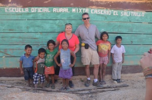 Lorraine and Reinaldo at the site of the school in El Salitrillo.  They added a schoolroom!